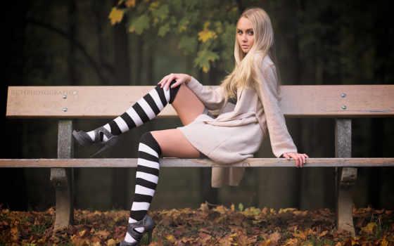 high, heels, blonde, women, sitting, knee, highs,