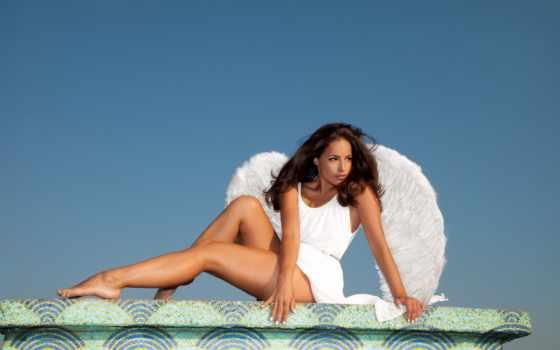 девушка, ножки, mujer, stock, изображение, rf, небесная, белое, крылья,