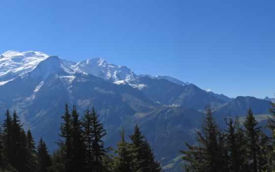 природа, mountains, гор, страница, лес, houches, вершины, снег,
