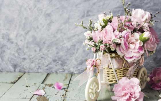 розовый, carnation, мама, день, happy, велосипед, wood, цветы, сердце