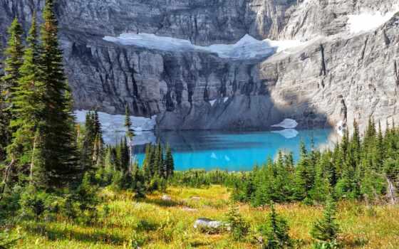 гора, озеро, дерево, cliff, близко, зелёный, landscape, добавить, preview, склон