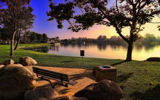 скамейка, park, озеро