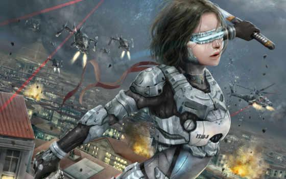 fantasy, меч, девушка, катана, войны, машины, киборги, роботы, техника,