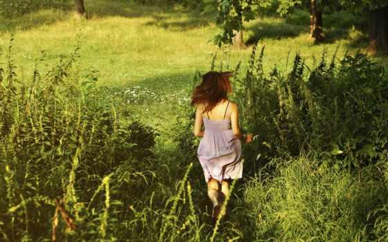 зелёный, summer, трава, девушка, убегает, широкоформатные, высоком, красивые, лес,