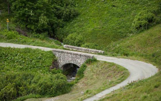 мост, трава, дорога, turning, mobile, desktop,