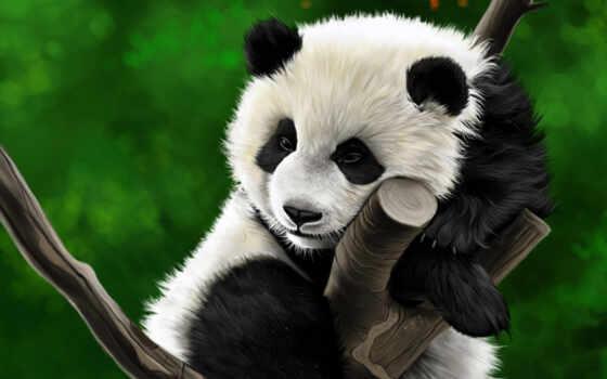 панда, дерево, diamond, drawing, scenery, краска, медведь