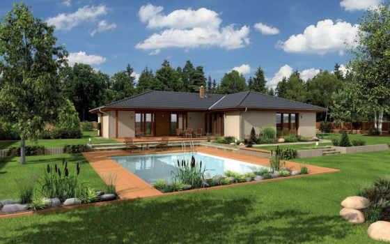 дома, трава, ландшафт, города, дизайн, природа, бассейны, пальмы, графика, особняк, газон,