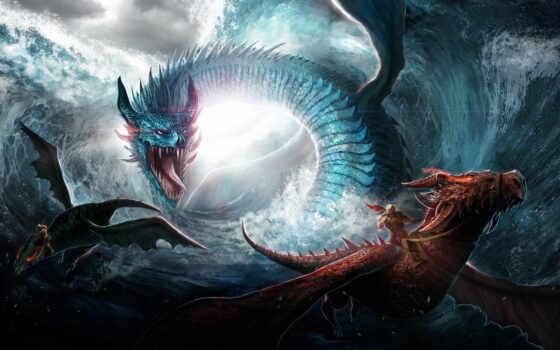 драконы, фэнтези, дельфины
