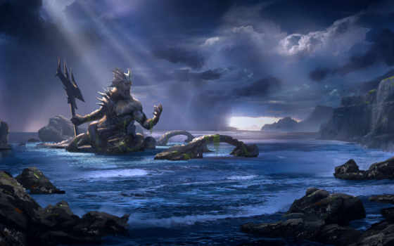 god, моря, мифологии, рюдзин, дракон, японской, под, посейдона, посейдон, землю,