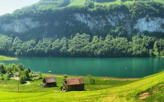 swiss, швейцария, горы, трава, поляна, река, домики,