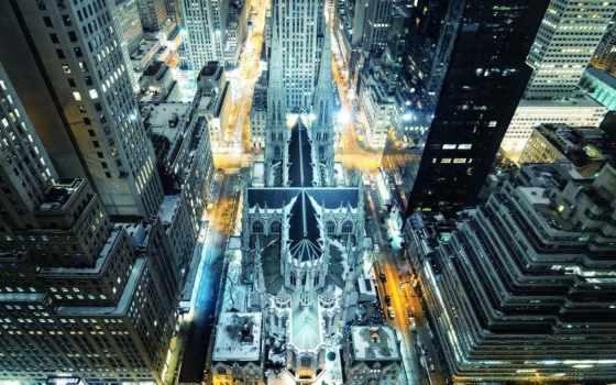 нью, new, сша, york, йорка, usa, ночного, город, проспект, улицы,