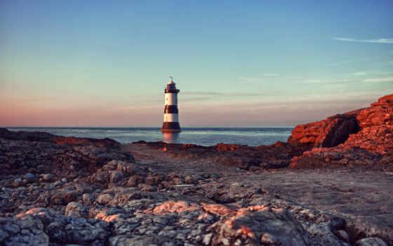 lighthouse, море, небо