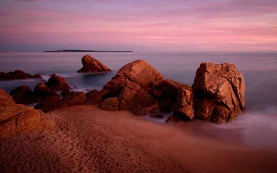 rocks, скалы, песок, небо, природа, windows, широкоформатные, море, пляж,