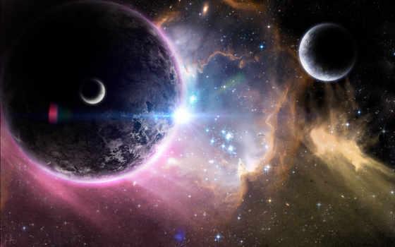cosmos, планеты, nebula, спутники, звезды, art, planet,