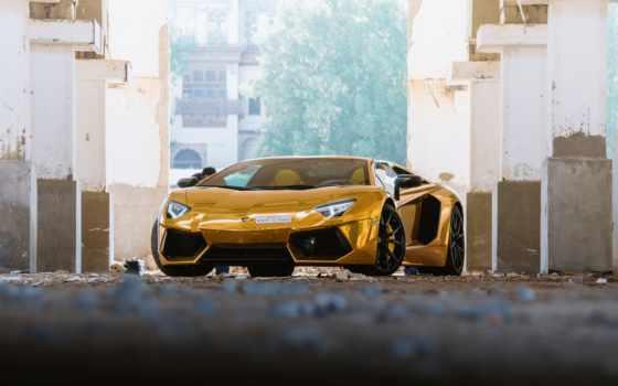 lamborghini, aventador, roadster, gold, золотистый, car, more, yellow,