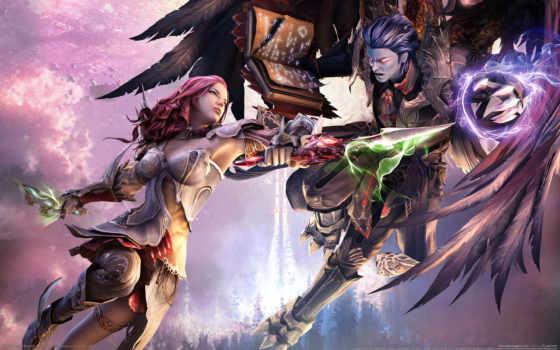 anime, битва, fantasy, крылья, бой, игры, aion,