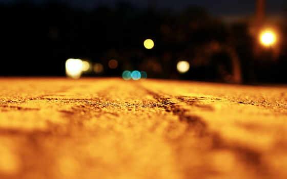 макро, свет, ночь, боке, дорога, effect,
