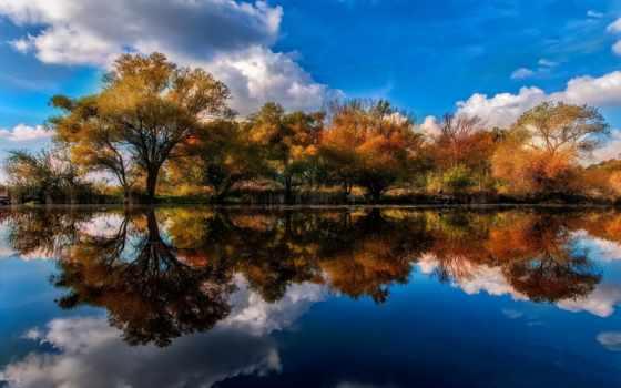 отражение, water, дерево, гора, природа, тело, озеро, landscape, луна, digital, art