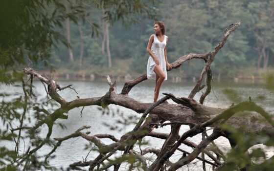 девушка, река, платье, дерево, water, коряга, кудри, грудь