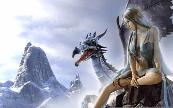 дракон, девушка, fantasy