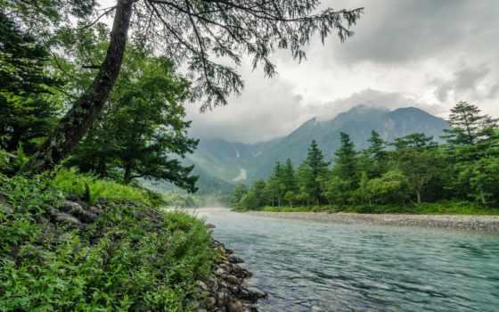 река, природа, природы, красивые, альпы, landscape, япония, mountains,