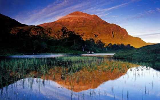 красивое, очень, озеро, шотландии, холмы, really,
