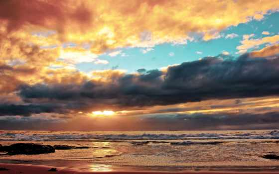 закат, море, небо, waves, oblaka, пенка, природа,