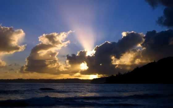 облаками, за, sun, rays, солнца, oblaka, небо, сниматься, море, закат, landscape,
