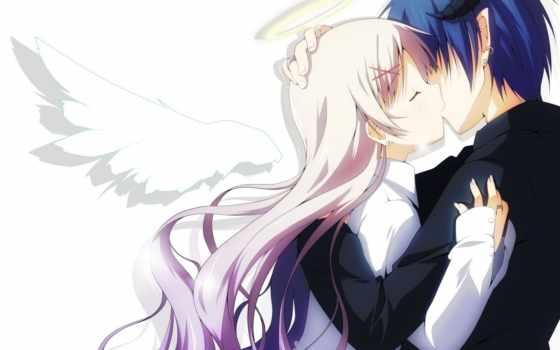 anime, angel, девушка, демон, art, парень, крылья, рога, демонов, halo, yuzuki,