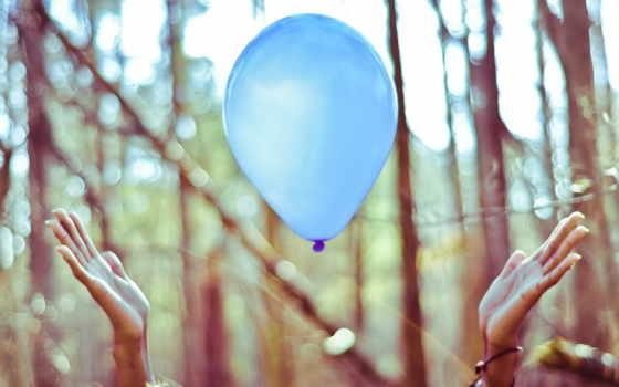 воздушные, шары, balloons, мяч, aerial, руки, air, trees, воздушных,