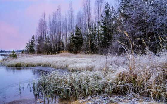 трава, winter, природа, иней, осень, небо, башня, лодка, дерево