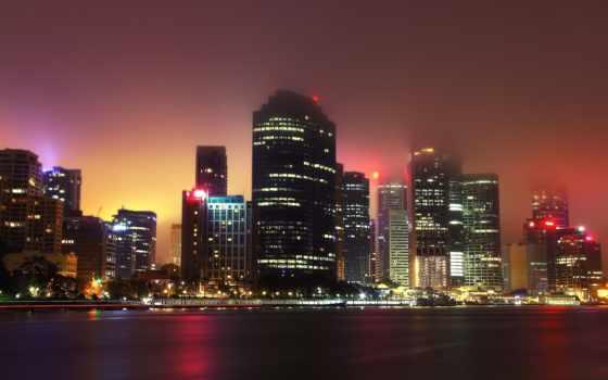 город, ночь, огни, смог, туман, картинка,