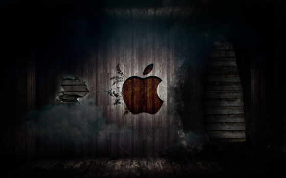 apple logo on the old wall
