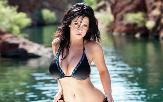 взгляд, devushki, купальник, девушка, грудь, water, milani, denize, brunette, модель,