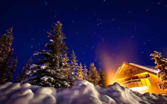 ecran, fonds, house, cabine, chalet, снегу, коттедж, снег,