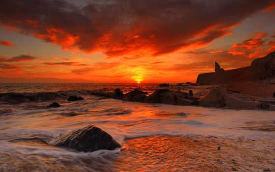 со, закате, закат, вечер, море, берегу, берег, моря,
