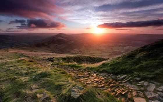 landscape, закат, горы, картинку, телефон, psalm, телефона, mobilnogo, пейзажи -,
