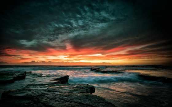 закат, небо, море