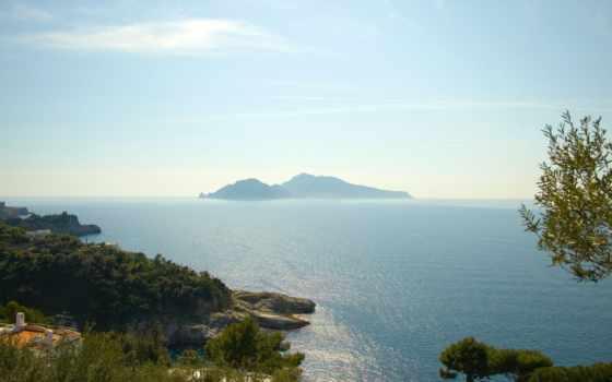 остров, zee, eiland, море, een, foto, met, дек, лада,