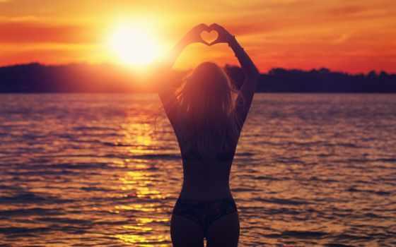 настроение, девушка, закат, красивые, сердце, love, яркие, самые, живые, how, обоях,