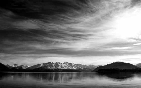 чёрно, белое, озеро, качестве, хорошем,