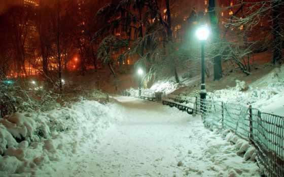 winter, снег, вечер, город, park, lantern, красиво, рисунки,