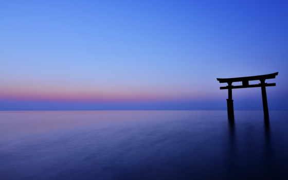 горизонт, море, вечер