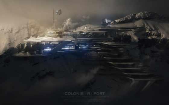 planet, колония, космос, колонисты, графика, корабли, горы, заставки, космопорт, колонии,