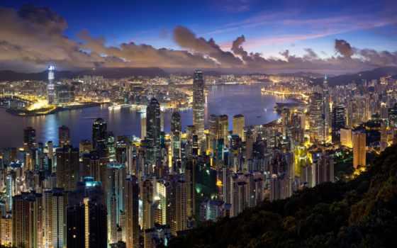 kong, hong, вечер, взгляд, природа, город, кб, filesize, resolution,