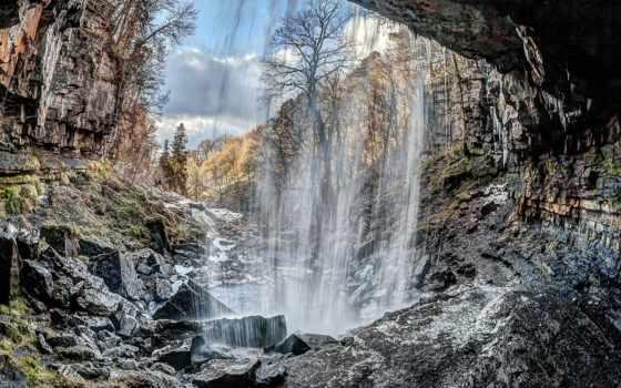 картинка, горы, природа, мб, водопады, камни, árvores, world,