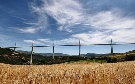 мийо, виадук, мире, millau, поле, мост, мостовое, construction, транспорт, колосья,
