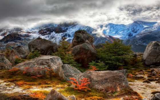 горы, снег, склон, дек, вершины, камни, аргентина, природа, water, trees, landscape,