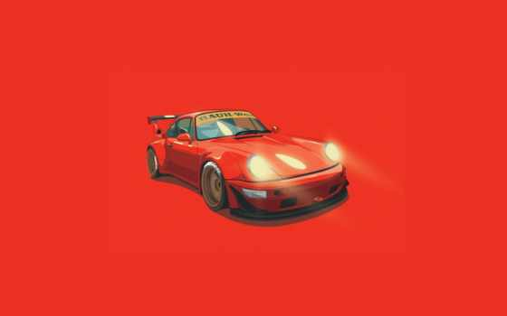 porsche, rwb, digital, minimalistic, illustration, тона, оранжевый,