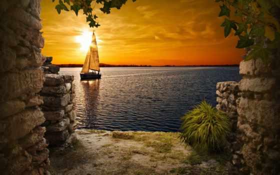 море, природа, sailboat, закат, landscape, небо, птицы, люди,